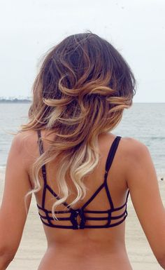 Love the back of this bathing suit, but I REALLY WANT her ombre hair...
