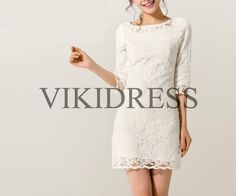 lace bridesmaid dress/short prom dress/Mid sleeve by vikidress, $95.00