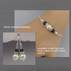 Navy and Ivory Pearl Bridesmaid Gift Jewelry Set, Navy Bridesmaid Jewelry, Bridesmaid Bracelet and Earring Set, Mother of the Bride Gift
