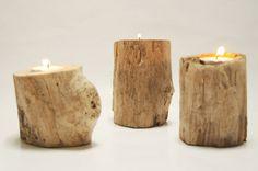 Driftwood Candle Holders Three Tea Light Coastal by Seagypsys, $20.00