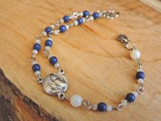 Blessed Mother CATHOLIC ROSARY Bracelet, Blue and White Beads, Silver Bracelet, Sacred Heart of Jesus, Saint Medal, Religious Jewelry, Gift by BohoHandmaids on Etsy