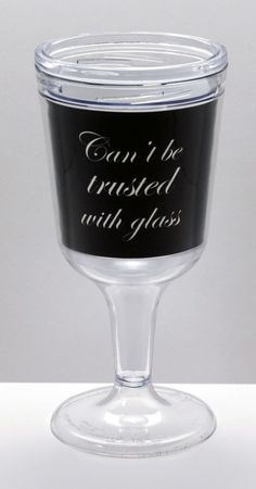 11 oz Heavy Weight BPA-Free Acrylic Wine Goblet - Black Elegant Can't Be Trusted With Glass™, $14.99