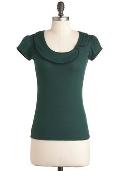Sock Hops and Dreams Top - Green, Solid, Cutout, Casual, Short Sleeves, Mid-length, Work