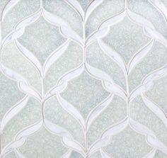 Encore Ceramics | Belvedere Mosaic hand-glazed in Rain jewel, with Calacutta stone  | Sustainably made in Oregon
