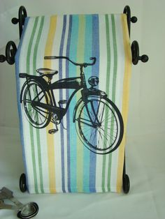 Retro Bicycle  Blue Green Yellow stripe tea by SweetBohemianLife, $12.00