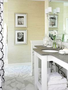 We are loving the grass-cloth glamour in this bathroom. Find more neutral ideas here: http://www.bhg.com/bathroom/color-schemes/neutrals/neutral-color-bathroom-design-ideas/?socsrc=bhgpin040515grassclothglamour&page=19