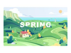 Nature in spring designed by 𝙈𝙞𝙣𝙩𝙞𝙤𝙣 for Nagrow. Connect with them on Dribbble; the global community for designers and creative professionals. Landscape Illustration, Flat Illustration, Graphic Design Illustration, Nature Vector, Environment Design, Cool Landscapes, Spring Design, Cute Wallpapers, Game Art