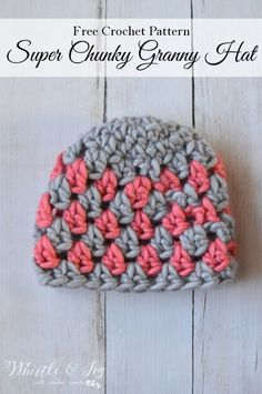 Crochet Pattern - Super Chunky Granny Stitch Hat Crochet this beautiful and chunky crochet granny hat, it works up so quickly and is so fun to make.Crochet this beautiful and chunky crochet granny hat, it works up so quickly and is so fun to make. Mode Crochet, Crochet Cap, Crochet Baby Hats, Crochet Granny, Crochet Scarves, Easy Crochet, Crocheted Hats, Crotchet, Chunky Crochet Hat