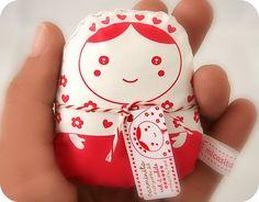 carminita matryoshka doll-- red n white-- normal size. $6.00, via Etsy.