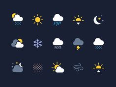 15 SVG Weather Icons - Vector Assets - SVG format ready to be edited in Figma, Sketch or Illustrator - Perfect for any iOS/Android project - Coloured &
