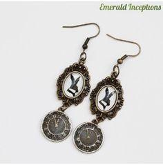 White Rabbit Alice Wonderland Earrings