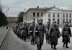 German soldiers marching through Oslo.  The German occupation of Norway began on April 9, 1940 after German forces invaded the neutral Scandinavian country of Norway. Conventional armed resistance to the German invasion ended on June 10, 1940 and the Germans then controlled Norway until the capitulation of German forces in Europe on May 8/9, 1945. Throughout this period, Norway was continuously occupied by the Wehrmacht. Civil rule was effectively assumed by the Reichskommissariat Norwegen…