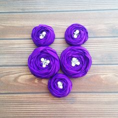 Purple Chiffon Roses Handmade Appliques by BizimSupplies on Etsy
