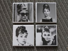 Audrey Hepburn ceramic coasters set of 4 by Shootingnelly on Etsy