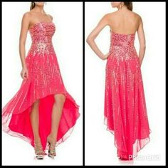 High-Low Prom and Evening Dress has Sweetheart and Strapless Neckline, Open Back, Sequin Embellishment Throughout, Layered Skirt with Asymmetrical Hem.