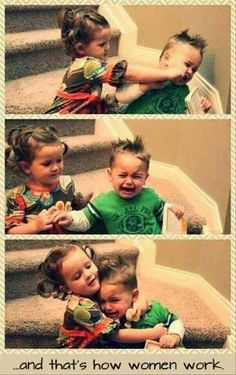 this exactly what my kids are like, except my son is older and is always getting hit by his little sister lol