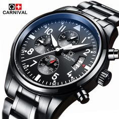 80.00$  Buy here - http://alit9k.worldwells.pw/go.php?t=32788853391 - Carnival Luxury Brand Waterproof 30M Sport Men Watches  Super Luminous Quartz Military Chronograph Watch Black Steel Clock relog 80.00$