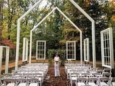 To your outdoor wedding to the next level with a floating frame adorned ceremony.