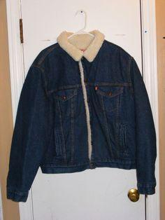 Awesome Vintage  Levi's Sherpa Lined Jean Jacket Men 48L
