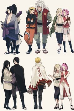 Team 7 and their Senseis - The 3 Sannins ♥♥♥ Sasuke and Orochimaru, Naruto and Jiraiya, Sakura and Tsunade ♥ So sad that Jiraiya couldn't see Naruto becoming Hokage and he's the only one missing :( :(