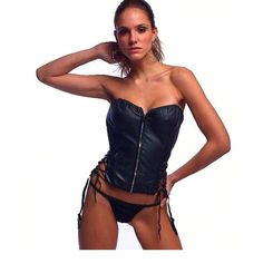 Fashion Black Women Sexy Vinyl Leather Corset Strapless Lace-Up Bustier With Thong W7906
