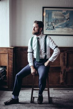 Crispin - I love the feel about this outfit ^Again, too fancy for George? Also, do I see him with a beard. maybe scruff. How popular was that in the late Green Braces, Bartender Uniform, Cravat Tie, Hotel Uniform, Staff Uniforms, Suspenders, Style Guides, Gentleman, Mens Fashion