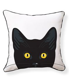 Loving this Yellow Eyes Cat Reversible Throw Pillow on #zulily! #zulilyfinds