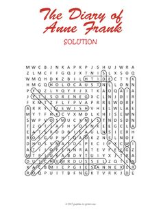 The Diary of Anne Frank Novel and Play Activity: Crossword