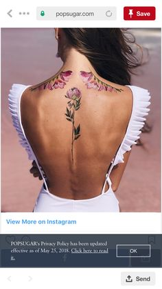Amazing And Attractive Floral Tattoo Designs You Must Love; Back Floral Tattoo; Tattoo Designs, Floral Tattoo Design, Spine Tattoos For Women, Back Tattoo Women, Pretty Tattoos, Beautiful Tattoos, Pastell Tattoo, Body Art Tattoos, Sleeve Tattoos