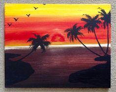 """SOLD- Original """"Hot Sunset"""" acrylic painting. The reds, oranges & yellows warm you up from the inside with this tropical beach painting. 20 x 16 By Art Room 278"""
