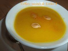 Les plats cuisinés de Esther B: Velouté de citrouille (Joyeuse Halloween!) Esther, Fondue, Pudding, Cheese, Ethnic Recipes, Desserts, Cream Soups, Happy Halloween, Vegetable Stock