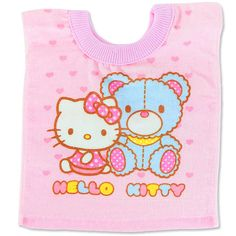 This Hello Kitty Bibs will keep your little one clean and comfortable! Baby Kitty, Baby Cats, Sanrio Hello Kitty, Cotton Towels, Bibs, Infant, Make It Yourself, How To Make, Design