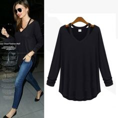 2ee9105ca6b559 USD11.49New Style V Neck Long Sleeve Solid Black Cotton T-shirt Cheap  Blouses
