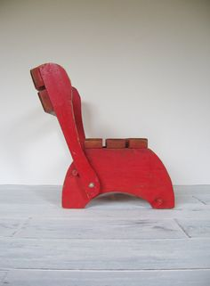 Vintage Childrens Wood Folding Chair // Red Step by CocoAndBear