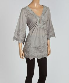 Look at this #zulilyfind! Gray Embroidered Tie-Waist Tunic by Sand Studio #zulilyfinds