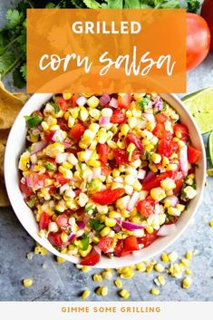 Quick and easy summertime appetizer recipe! We ove this easy Grilled Corn Salsa for a healthy snack or appetizer recipe. Loaded with flavor from onion, tomatoes, onions and lime! Best Appetizer Recipes, Healthy Appetizers, Grilling Recipes, Healthy Snacks, Cooking Recipes, Healthy Recipes, Grilling Ideas, Appetizer Ideas, Barbecue Recipes