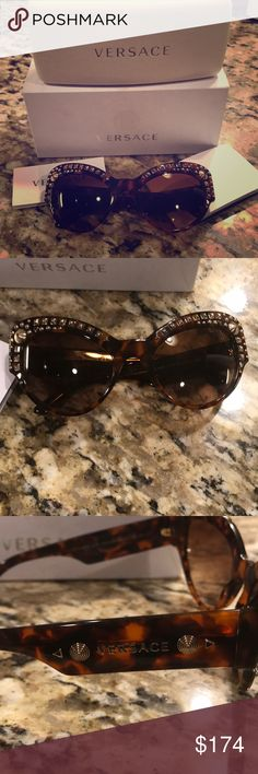 """Versace Cat Eye Havana Studded Sunglasses Authentic Versace model 4269 sunnies, with original box, hard case & cleaning cloth. Cat eye style....each lens is 2 5/8"""" wide, 2"""" tall.  So...I wore the same modest, boring Chanel shades for EIGHT years. And then I decided to shake things up a bit and buy some cat eyes. Lady Gaga wore this model. Gaga I am not. My swagger disappeared & I could not leave the house in glasses this big. So they sat in the box.   These are studded and fabulous. And…"""