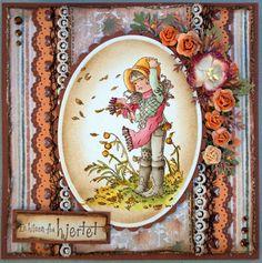 Annes lille hobbykrok: Stampavie, Sarah Kay, Autumn card, Distress Ink