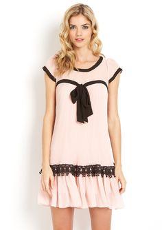RYU  Cap Sleeve Dress with Sheer Neckline and Pleated Skirt
