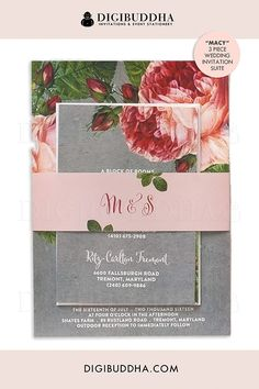 Beautiful vintage botanical blush pink cabbage rose 3 piece invitation suite with rsvp and info card. Classic floral foliage, pink and gray palette with touches of green leaves. Matching envelope liner and belly band also available, at digibuddha.com