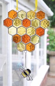 Honeycomb-And-Bumble-Bee-Stained-Glass-Art-Suncatcher-Beekeeping-The-Glass-Sea