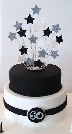 For my Dad's party with a black, white and silver theme. (birthday cake decorating for men) Birthday Cakes For Men, 70th Birthday, Birthday Cupcakes, Birthday Wishes, Birthday Ideas, Rodjendanske Torte, Black White Cakes, 18th Cake, Silver Cake