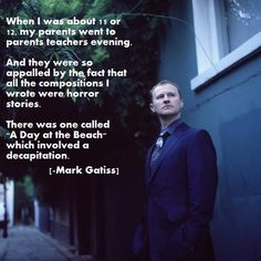 Mark Gatiss, everybody. Let's all just appreciate the fact that this man is living his childhood dreams - writing creepy stories for two of his childhood heroes - Doctor Who and Sherlock.<<This man is living the dream. I now want to read those stories. Creepy Stories, Horror Stories, Torchwood, Youtubers, Mrs Hudson, Mark Gatiss, Johnlock, Baker Street, Geek Out
