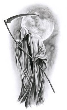 angel of death tattoo designs Tatuaje Grim Reaper, Grim Reaper Art, Grim Reaper Tattoo, Don't Fear The Reaper, Grim Reaper Drawings, Skull Tattoo Design, Skull Tattoos, Body Art Tattoos, Skulls