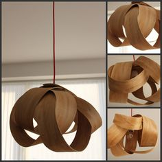 Wooden pendant light made from salvaged wood.