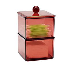 Wine Red Acrylic Qtip Cotton Swabs Cotton Ball Storage Case  Dual Stacking Boxes With One Lid  Organizer For Make Up Pads Cosmetics  For Bathroom  Vanity By Richboom *** Want additional info? Click on the image. Note:It is Affiliate Link to Amazon.
