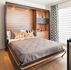 Lit escamotable id es pour la maison pinterest tes for Amenagement interieur petit espace
