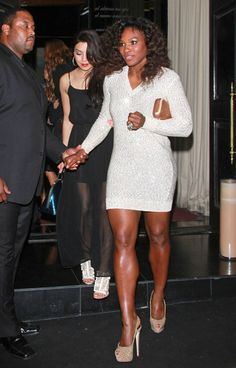 Feb24,2012:Serena Williams was spotted at the Vanity Fair Pre-Oscar Party at BESO in a Stella McCartney Sequin Embellished Dress & Giuseppe Zanotti Embellished Suede & Leather Slingbacks.