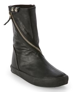 Amiana (Girls) Black Zipper-Detail Boots