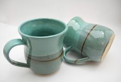 XLarge Coffee Mug Handmade Ceramics in Turquoise by ClayismyArt, ₪90.00